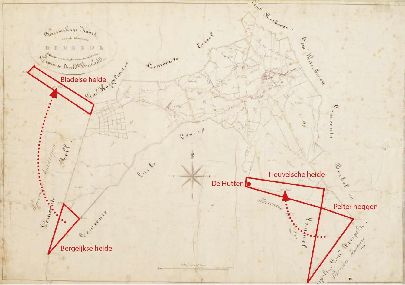 Voor de aanleg van het Kempisch kanaal werden in 1842 gronden geruild. Kadastraal verzamelplan 1832.