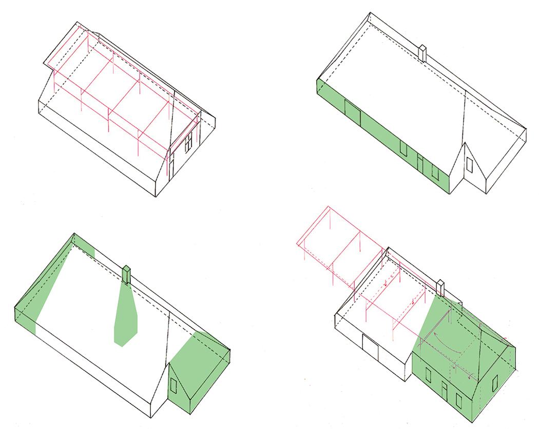 reconstructietekening van de vier eerste bouwfasen