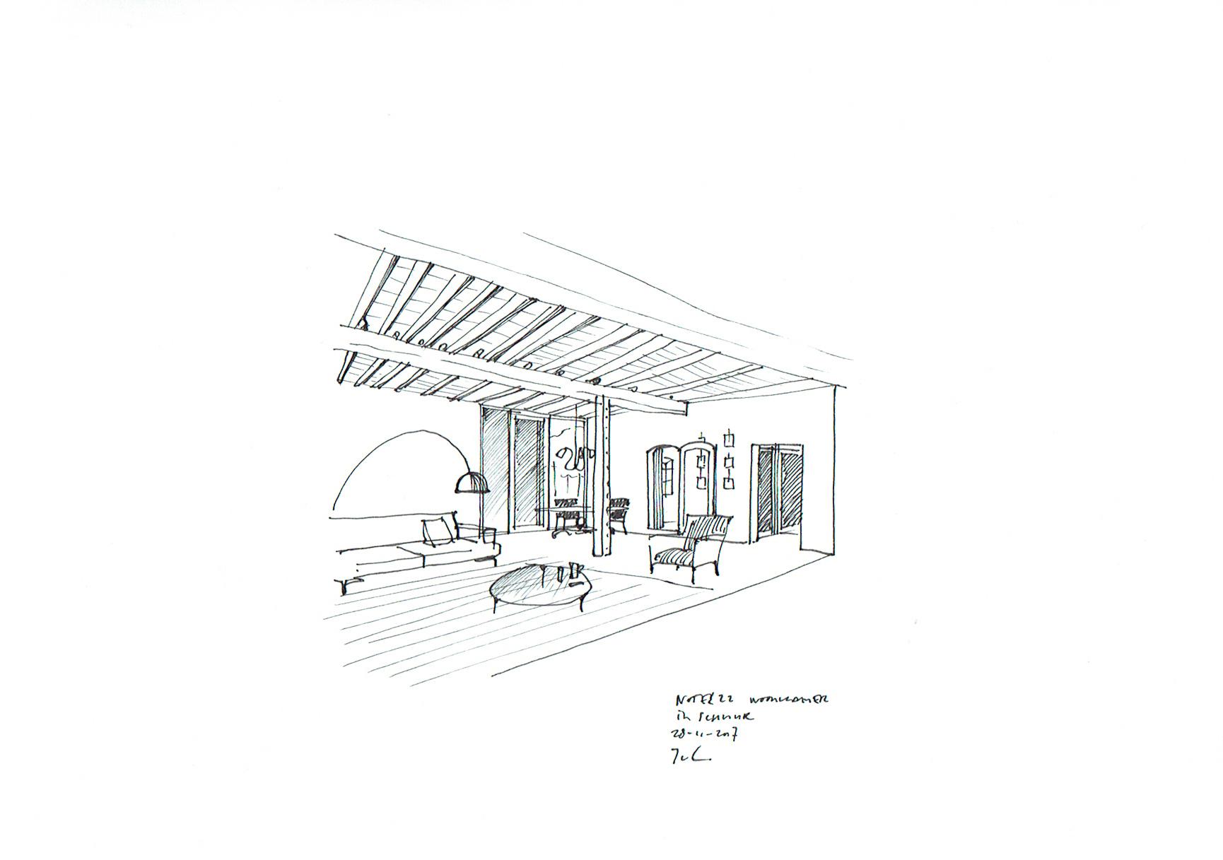 woonkamer in schuur
